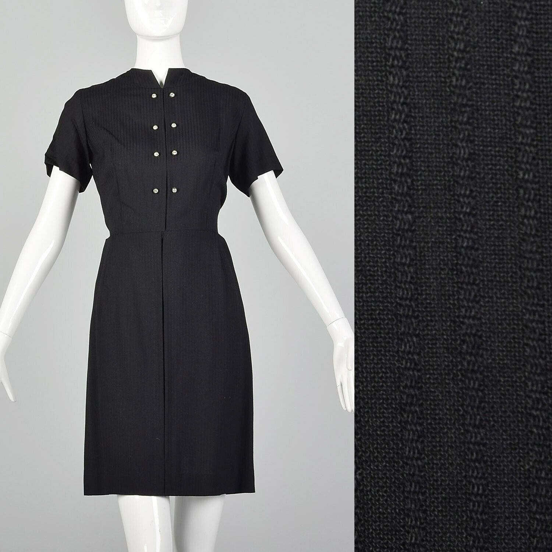 Small 1950s schwarz Day Dress Short Sleeve Little schwarz 50s Classic LBD Summer VTG