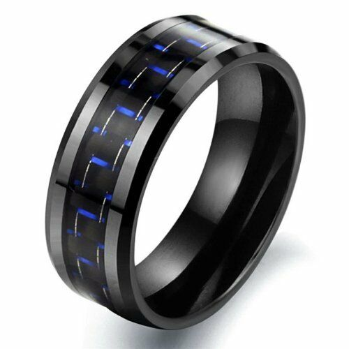 Tungsten Black & Blue Colour Carbon Fiber Mens Wedding Ring Size 6 - 10 R579
