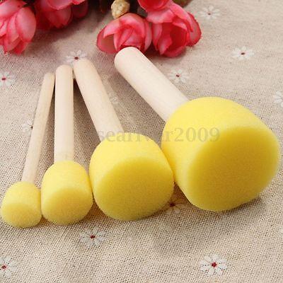 4Pcs Wooden Handle Stencil Sponge Foam Brush Furniture Craft Art Painting Tool