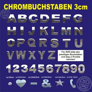 5-Stueck-3D-Chrombuchstaben-zum-aufkleben-3-cm-5-Zeichen-z-B-BULLI-oder-BEACH