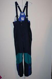 ba0961a192 Fila VTG Thermal Ski Pant Bib Multi Blue Teal Green Size 34 Downhill ...