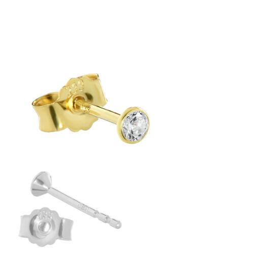 Single pendientes reales Gold 333er 3 mm cubic circonita señora caballero 0,33g 3753