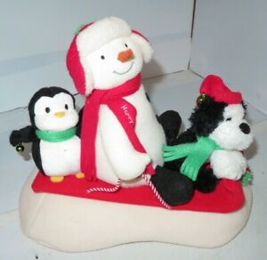 Hallmark-2007-Jingle-Pals-Sleigh-Ride-Animated-Singing-Plush-Snowman-Dog-Penguin