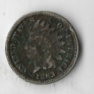 Rare-Antique-US-1863-Civil-War-Indian-Head-Penny-Collection-Cent-Coin-Lot-S40