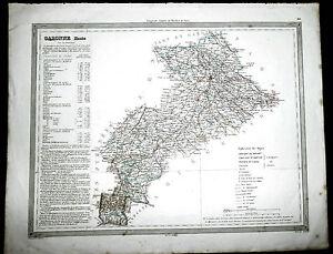 Ordonné Gravure Aquarellée Xixe Carte Géographique Haute Garonne Par Duvotenay