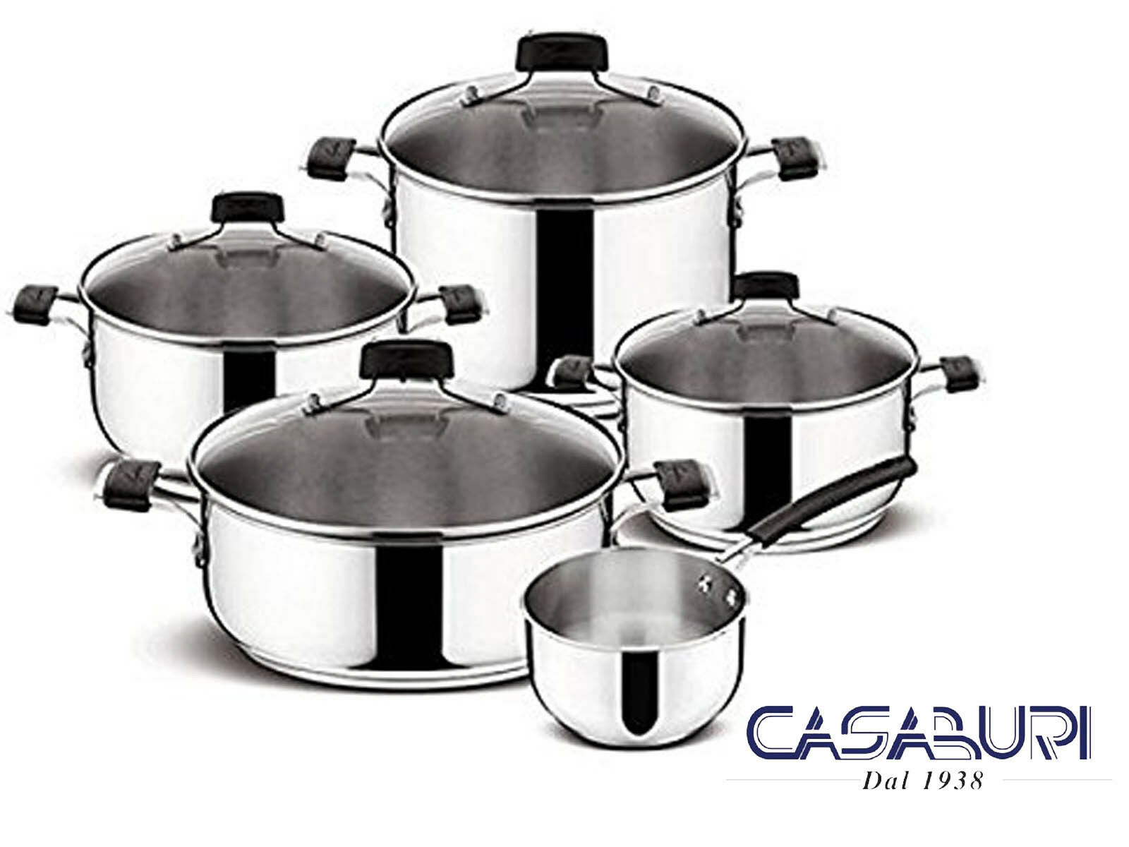 Lagostina Batteria di Pentole Tempra 9 Pz in Acciaio Inox - Cookware Set