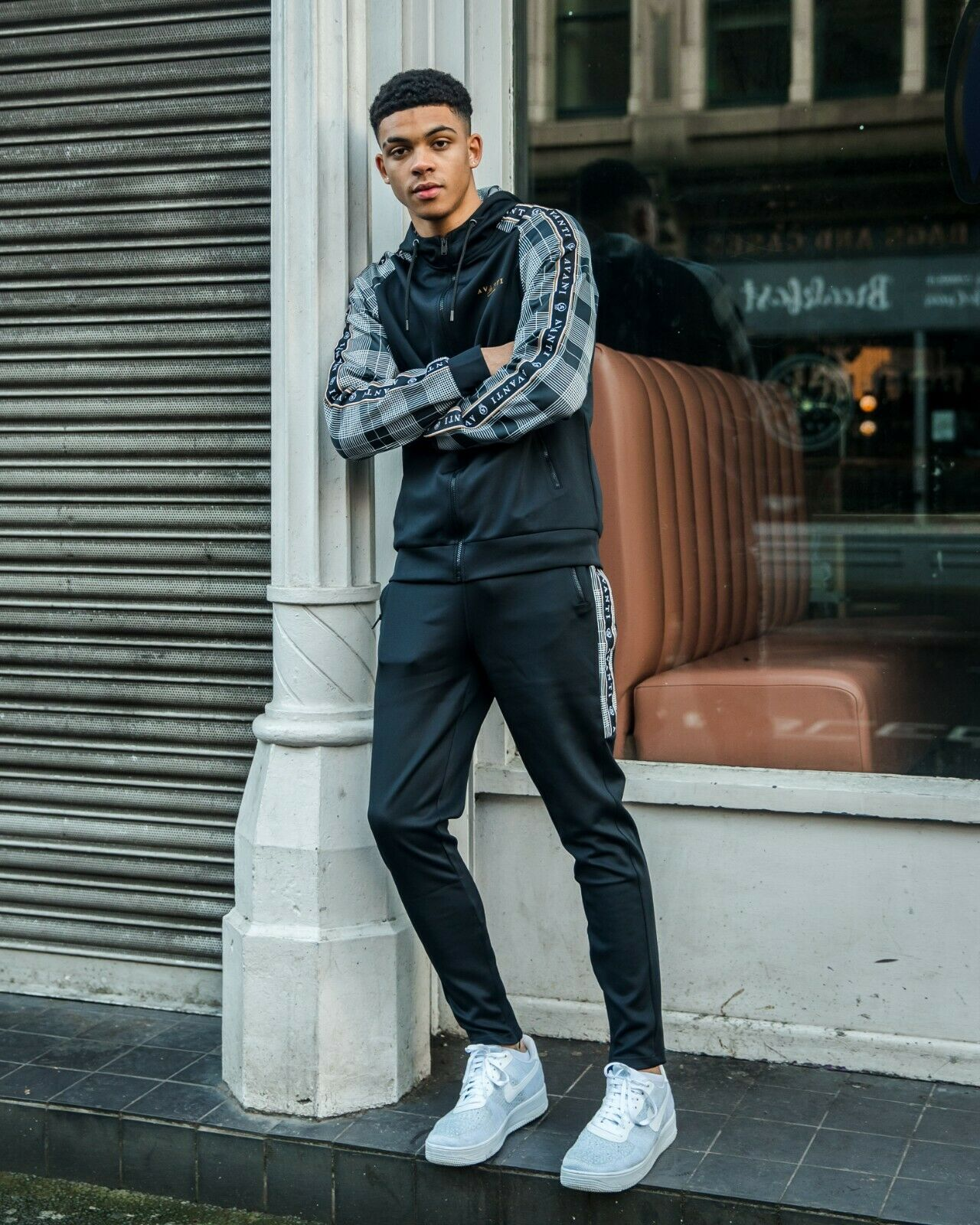 AC Men's Full Tracksuit (Hoodie & Bottoms) Street Check Men's Poly Tracksuit