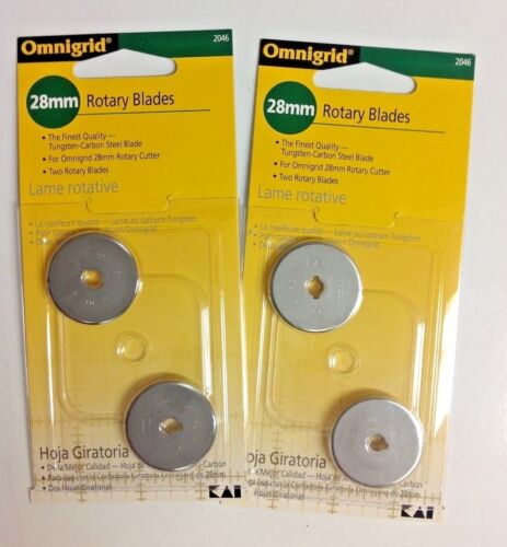 New 2 pkgs. 4 blades 28MM #2046 OMNIGRID ROTARY CUTTER REPLACEMENT BLADES