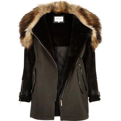 6 Island Uk Taglia Khaki Parka Green Ladies River Fur Coat Coat wp6WqSav5c