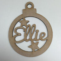 MDF Laser Cut Christmas Bauble Tree Decoration Add Your Name Personalised