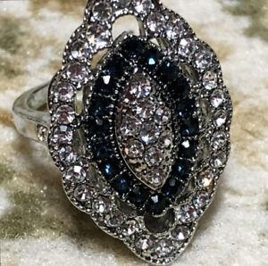 Vintage Art Deco Large 925 Sterling Silver Blue Sapphire Diamond ... a8b52c519e1c