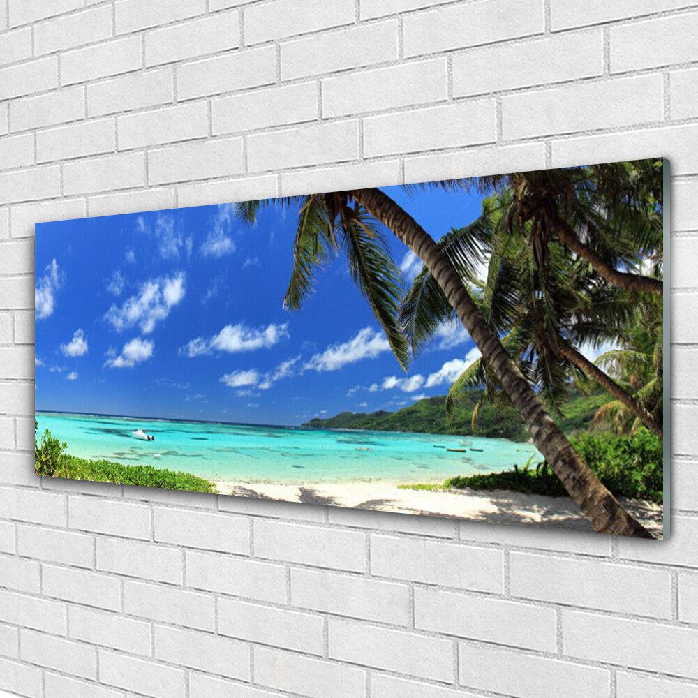 Impression sur verre acrylique Image tableau 125x50 Paysage Mer Pierres Plage