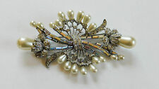 Vintage Pave Clear Rhinestone Pearls Deco Baguette Large Brooch Pin #157