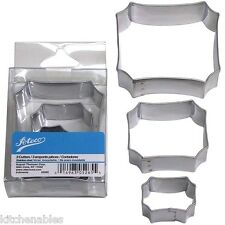 ATECO STAINLESS STEEL PLAQUE FRAME COOKIE CUTTER SET OF 3 - DEEP BISCUITS CAKE