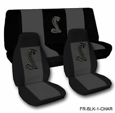Black and Charrcoal Cobra Seat Covers 1971-2014 Chevy Camaro