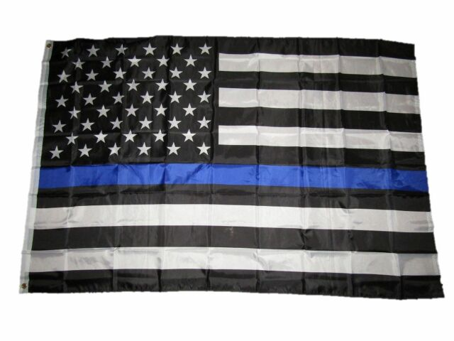 Lot of 2 Thin Blue Line American Flag 3x5 ft Respect Honor Police Officer Law