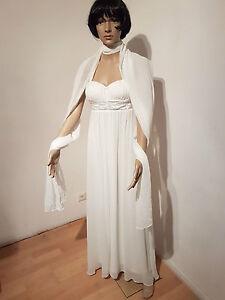 LAURA-SCOTT-Evening-Abendkleid-Ballkleid-Brautkleid-mit-Schal-WEISS-NEU-Gr-44