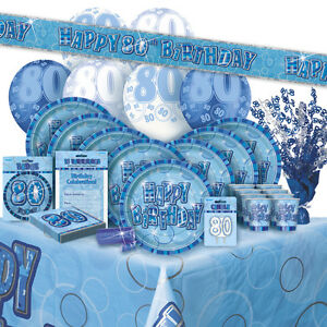 Image Is Loading AGE 80 80TH BIRTHDAY BLUE GLITZ PARTY RANGE