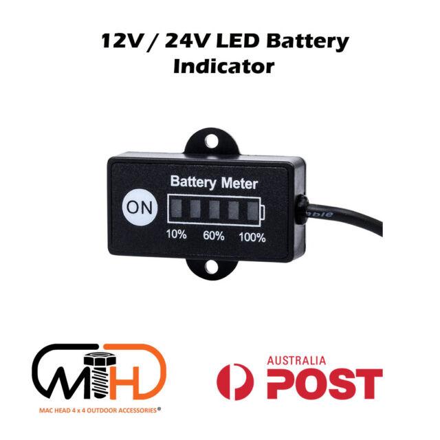 12 Volt LED Dual Battery Monitor Fuel Gauge Meter Digital % Percentage Switch