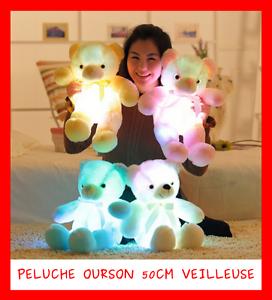 GRANDE PELUCHE LUMINEUSE LED VEILLEUSE DOUDOU OURSON 50cm JEU JOUET LAMPE ENFANT