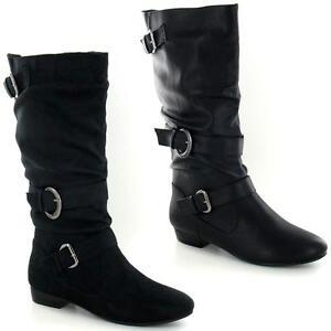 5238bc317f1 Womens Black Leather Look Low Heel Riding Biker Flat Ladies Mid Calf ...