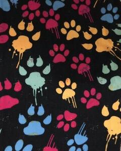 244fbcd478d150 NWT ~ LuLaRoe Leggings ~ OS ~ BLACK PAW PRINTS PAINT ~ DOGS CATS ...