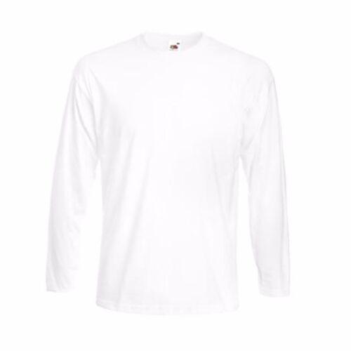 À manches longues fruit of the Loom Homme T-Shirt tshirts Plain Tee Shirt Top Vente Lot