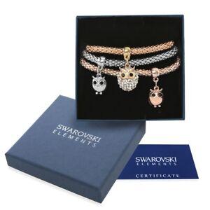 Bracciali-donna-oro-argento-Swarovski-Element-originali-G4L-cristalli-gufi-cuori