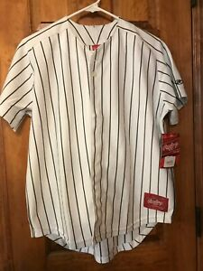 Rawlings Youth Baseball Jersey White with Black Pinstripes RYBBJ95 New with tags