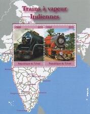 STEAM TRAINS OF INDIA REPUBLIQUE DU TCHAD 2015 MNH STAMP SHEETLET