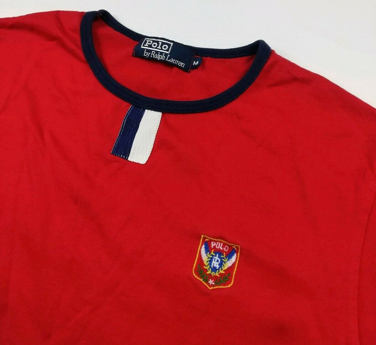 Vintage Polo Ralph Lauren Embroidered Uni Crest T Shirt Very Rare 80s USA RL EUC