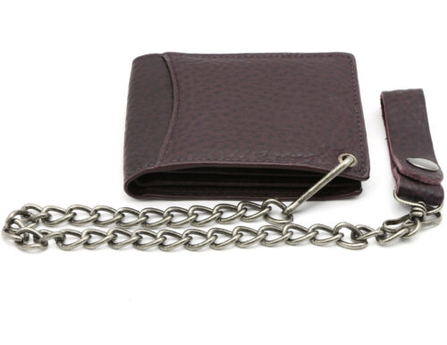 Bifold Burgundy Genuine Leather Wallet with Scale Texture Design with a Chain