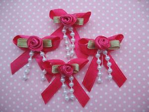 10 X 1.25 in (approx. 3.17 cm) Hot Pink Bow con Rosebud + Perlas Vinchas Calcetines del Bebé Zapatos Arcos