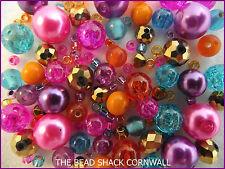 Glass Bead Mix / Bracelet Making Kit -Pink,Purple,Aqua,Orange & Gold - Bollywood