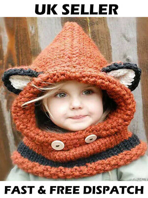 Hand Made Ragazze Bambino Baby Arancione Fox Orecchie Cappello Inverno Caldo Lanoso Sciarpa Collo Carino-mostra Il Titolo Originale Sii Amichevole In Uso