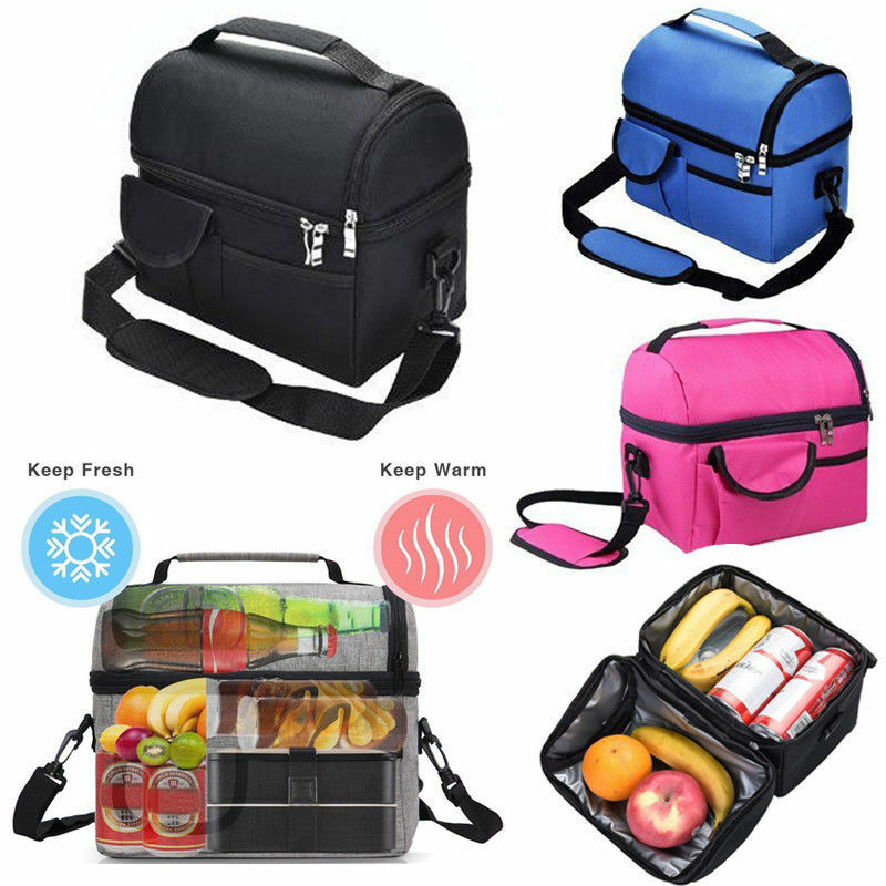 3fc442e54df4 Insulated Lunch Bag Dual Compartment Cooler Lunch Box With Straps ...