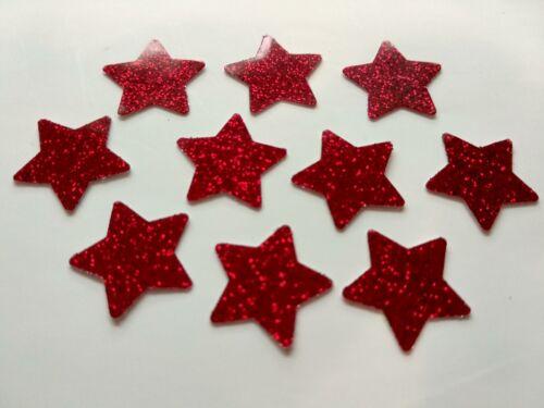 100 X Brillant étoiles rouges Imperméable Peel Off Shiny Stickers Autocollante