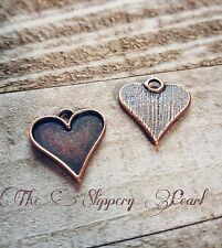 Heart Charms Pendants Valentines Day Heart Antiqued Copper 21mm 10pcs