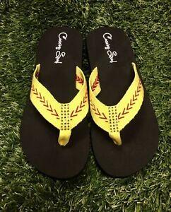 41d9feb6f1af Cocomo Soul SOFTBALL Fabric Stitch FLAT Flip Flops Sandals Size 6 7 ...