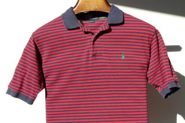 Polo Ralph Lauren M Gentleman's Red & Navy Blue Striped Short-Sleeved Polo Shirt
