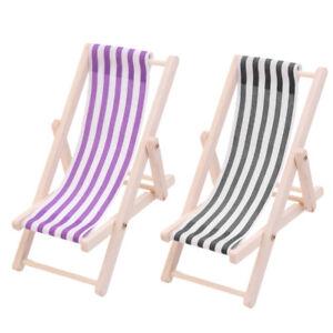 Details About 2pcs Dollhouse Mini Lounge Chair Sunbath Beach Chair Furniture Decoration