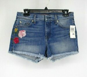 7-For-All-Mankind-7FAMK-Floral-Embroidered-Cut-Off-Shorts-Size-29-Jean-Blue-8034