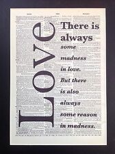 Love ...There Is Always..Madness Gift Idea A4 Size Antique Dictionary Page Art