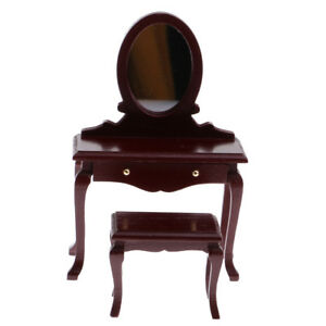 Details About 1/12 Dollhouse Miniature Furniture Bedroom Brown Wooden  Dressing Table Stool