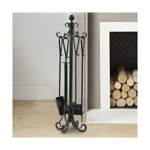 5 pieces scroll fireplace tools set black cast iron fire place rh ebay com ebay wrought iron fireplace tools ebay fireplace tools accessories