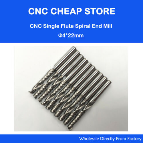 10pc Carbide endmill single flute spiral CNC router bits 4mm x 22mm Promotion!!