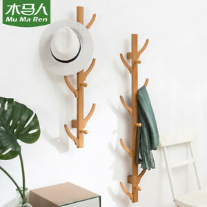 Tree Hooks Coat Hat Rack Wall Jackets Hanger Holder Bamboo