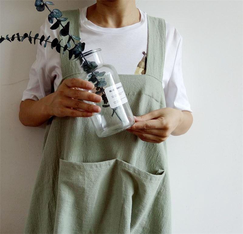 Ladies Bib Aprons Cotton Linen Solid Pinafore Dress Baking Florist Soft Workwear