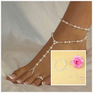 Schicke Perle barfuß Sandale Fußkettchen Knöchel Armband Fuß Kette Zehenring  HH