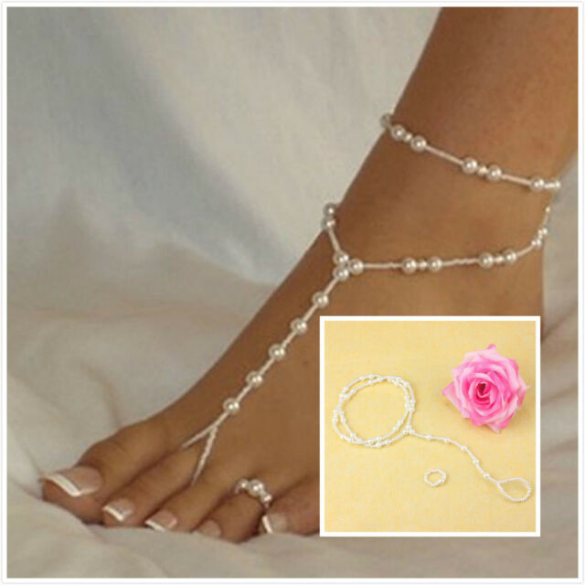 Womens Barefoot Sandal Beach Pearl Anklet Ankle Bracelet Foot Chain IA